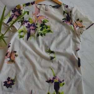 Watercolour painted floral blouse